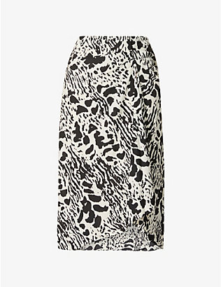 BA&SH: Opera animal-print high-waist crepe midi skirt