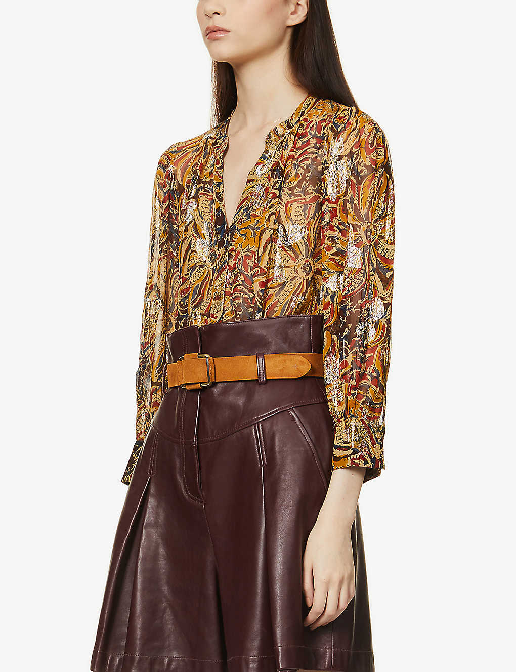 BA&SH: Quincy metallic graphic-print woven blouse