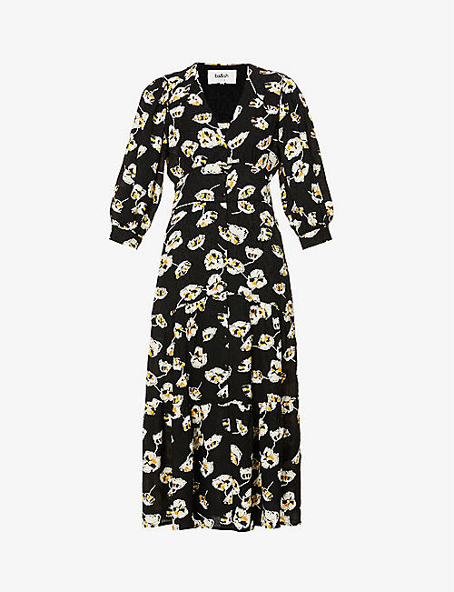 BA&SH: Uilia floral-print puffed-sleeve crepe midi dress