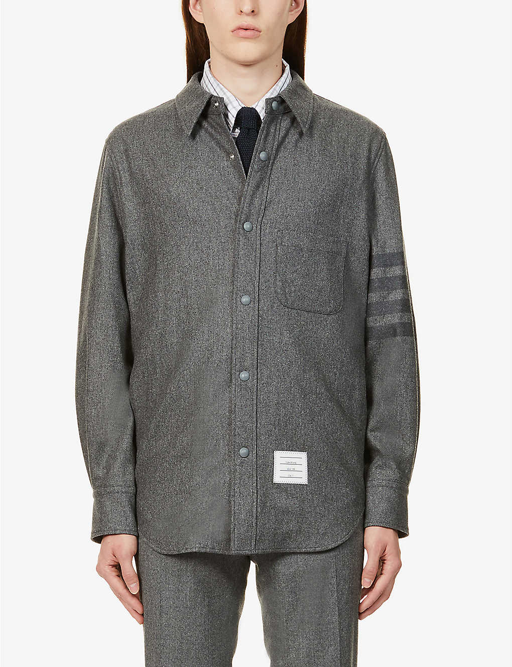 THOM BROWNE: Striped-panel wool and cashmere-blend shirt