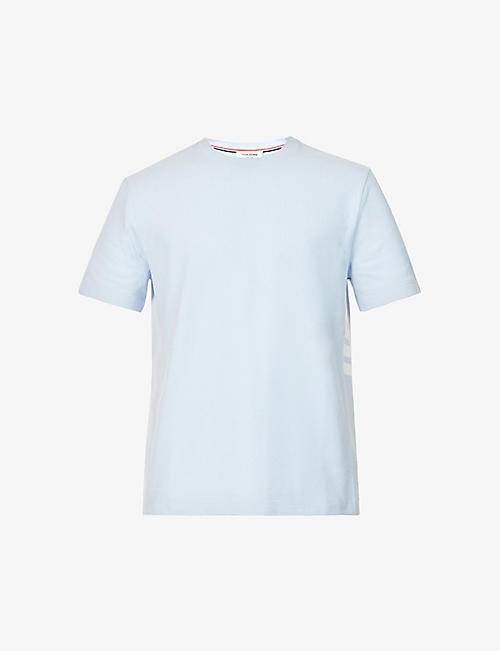 THOM BROWNE: Striped-panel crewneck cotton T-shirt