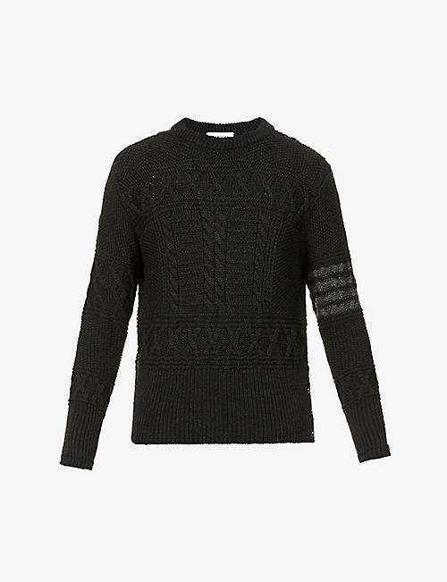 THOM BROWNE: Aran cable-knit wool jumper