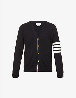 THOM BROWNE: Stripe-detail cotton-knit cardigan