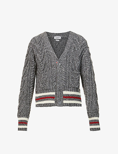 THOM BROWNE: Aran cable-knit wool and mohair-blend cardigan