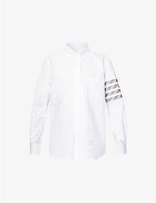 THOM BROWNE: Striped-panel slim-fit cotton shirt