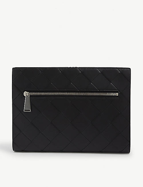 BOTTEGA VENETA: Zipped Intrecciato weave-leather document case