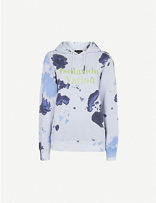 RAGYARD: Tie-dye graphic-print cotton hoody