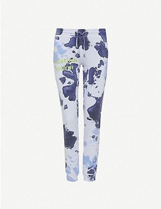 RAGYARD: Tie-dye graphic-print cotton jogging bottoms
