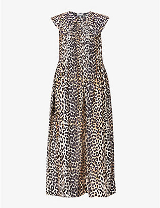 GANNI: Sleeveless leopard-print cotton and silk-blend midi dress