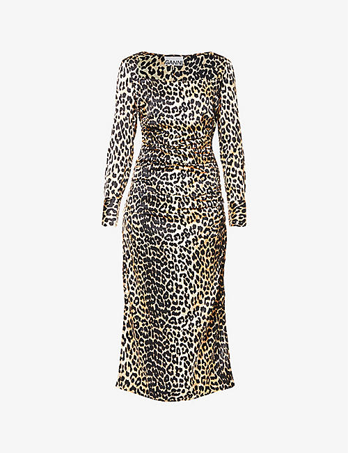 GANNI: Leopard-print ruched stretch-silk midi dress