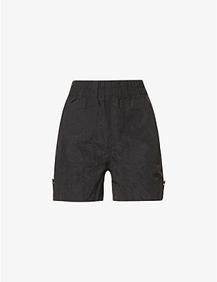 GANNI: High-rise elasticated-waistband woven shorts