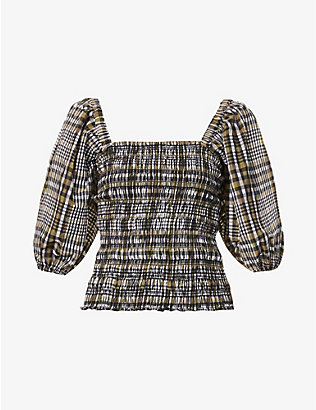 GANNI: Checked puff-sleeved cotton-blend top