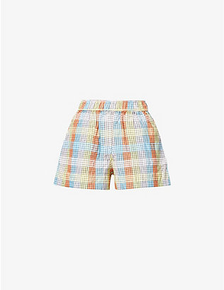 GANNI: Checked high-rise cotton-blend shorts