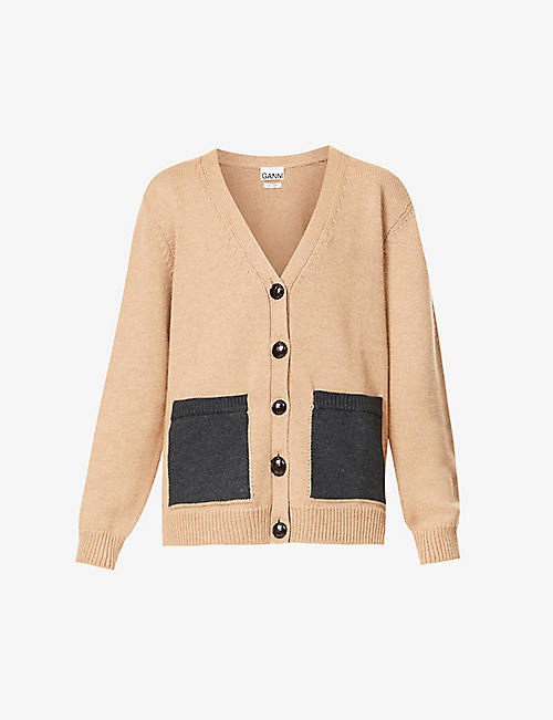 GANNI: Contrast-pocket wool cardigan
