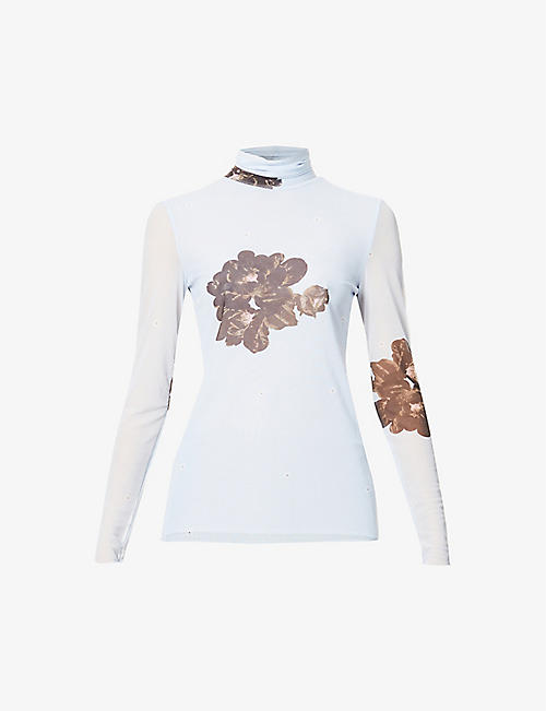 GANNI: Floral-print turtleneck stretch-mesh top