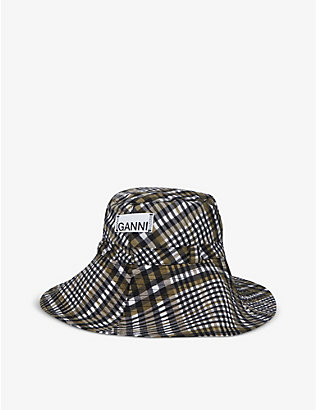 GANNI: Seersucker-check woven bucket hat