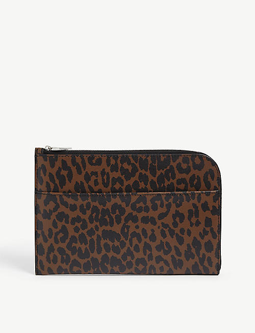 GANNI: Leopard-print leather pouch