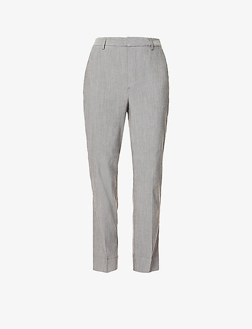GANNI: Tapered mid-rise woven trousers