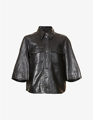 GANNI: Patch-pocket leather shirt
