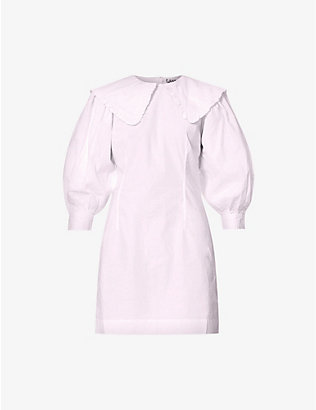 GANNI: Peter Pan-collar organic cotton-poplin mini dress