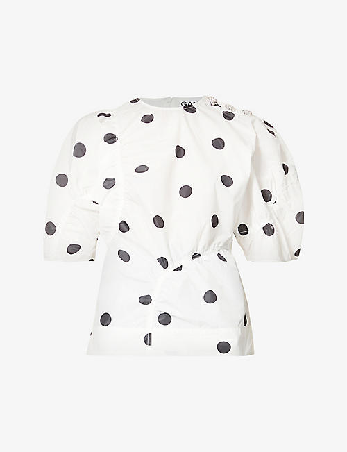 GANNI: Polka dot-print recycled-polyester top