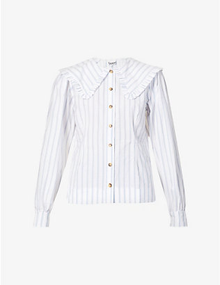 GANNI: Striped frilled cotton-poplin shirt