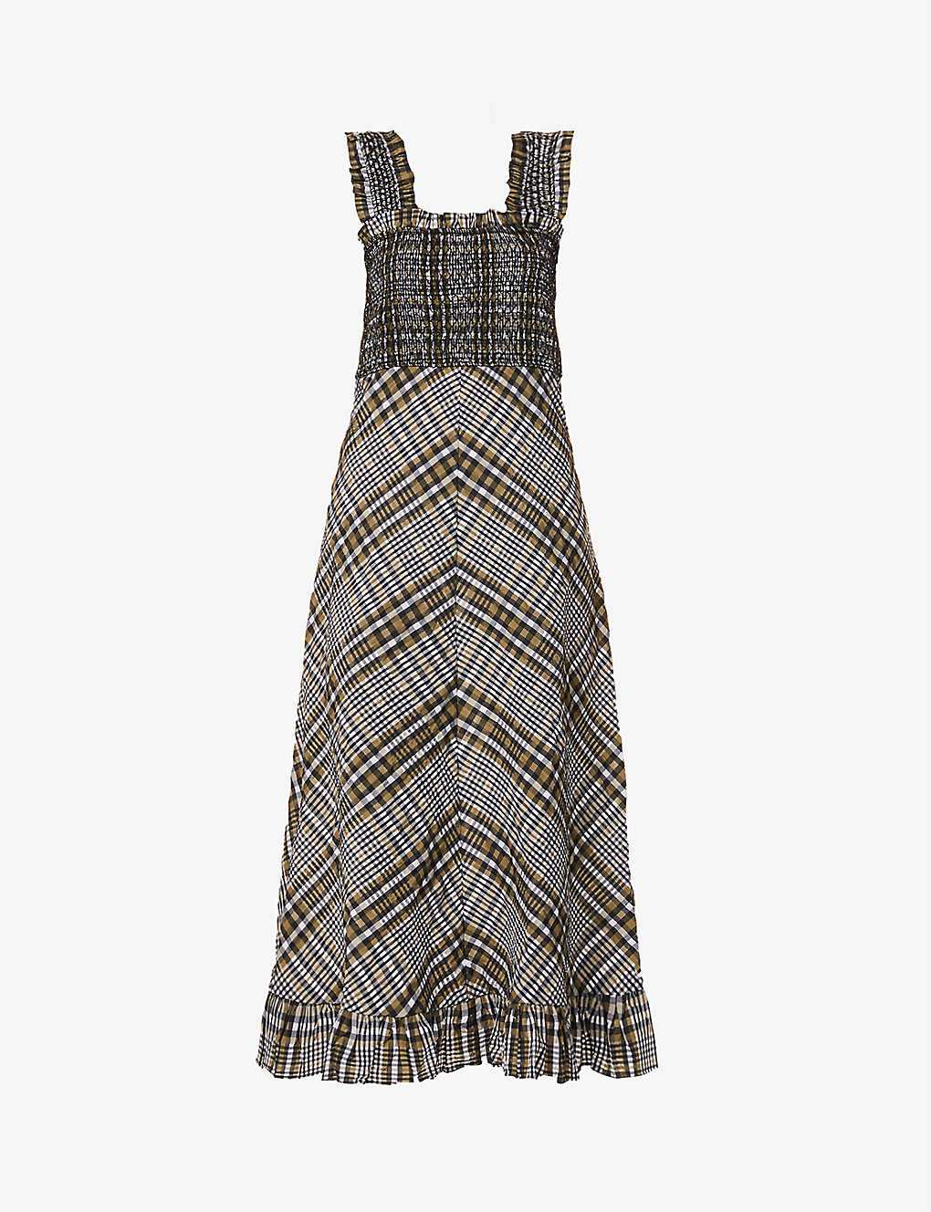 Ganni Seersucker Check Cotton Blend Midi Dress Selfridges Com