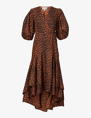 GANNI: Leopard-print organic-cotton midi dress