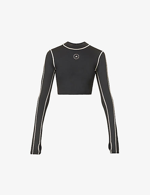 ADIDAS BY STELLA MCCARTNEY: Primeblue logo-print cropped stretch-recycled polyester top