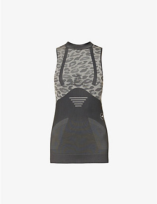 ADIDAS BY STELLA MCCARTNEY: Leopard-print recycled polyester-blend tank top