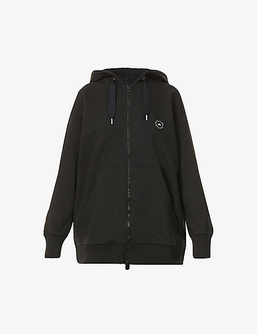 ADIDAS BY STELLA MCCARTNEY: Logo-print cotton and recycled-polyester blend hoody