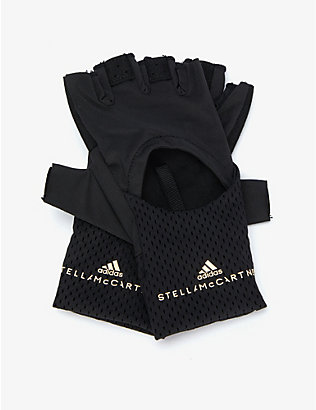 ADIDAS BY STELLA MCCARTNEY: Logo-print mesh stretch-jersey fingerless gloves