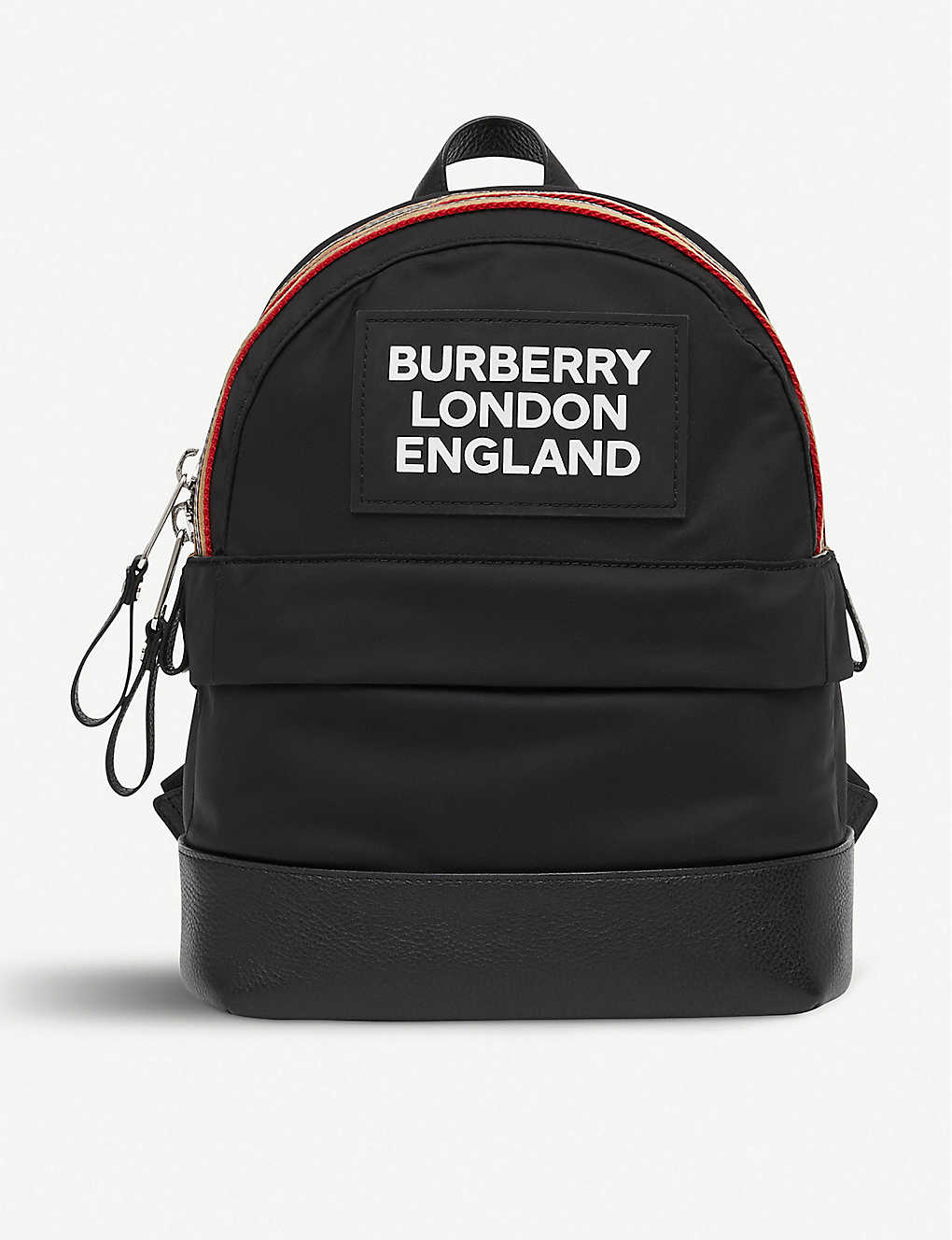 BURBERRY: Kids Nico logo-print striped shell backpack