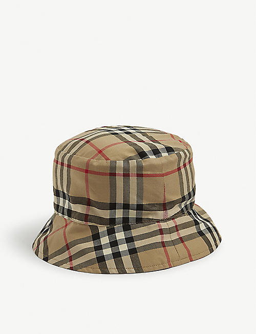 BURBERRY: Kids Kurt cotton bucket hat 1-18 month