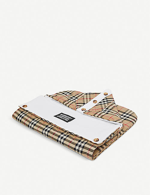 BURBERRY: Iggy logo-print checked cotton baby nest 9 months