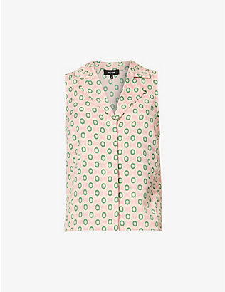 ME AND EM: Summer graphic-print sleeveless crepe shirt