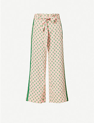 ME AND EM: Summer graphic-print relaxed high-rise crepe trousers