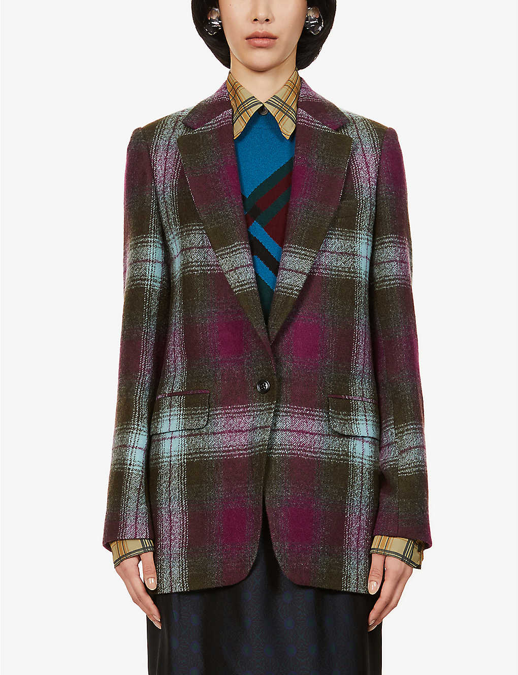 DRIES VAN NOTEN: Checked wool blazer