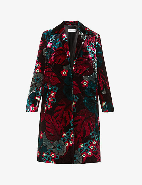 DRIES VAN NOTEN: Floral-pattern quilted velvet coat
