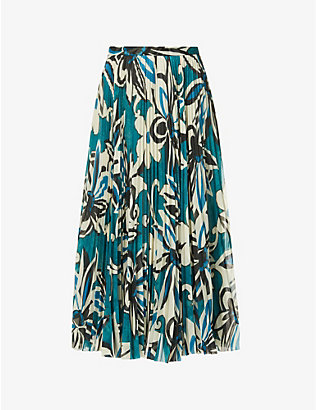 DRIES VAN NOTEN: Floral-print pleated woven midi skirt