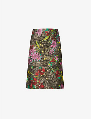 DRIES VAN NOTEN: Floral-print high-waisted jacquard midi skirt