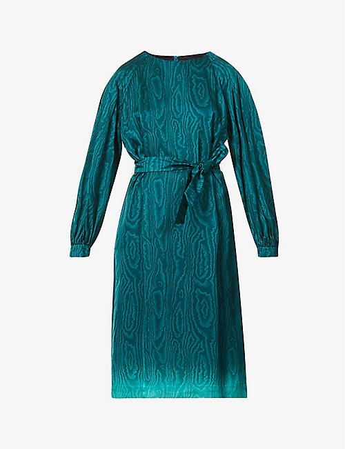 DRIES VAN NOTEN: Abstract-pattern satin midi dress