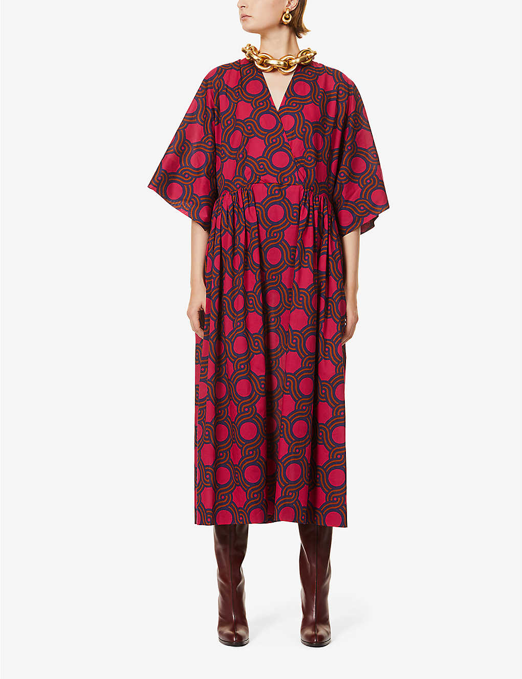 DRIES VAN NOTEN: Graphic-print cotton midi dress