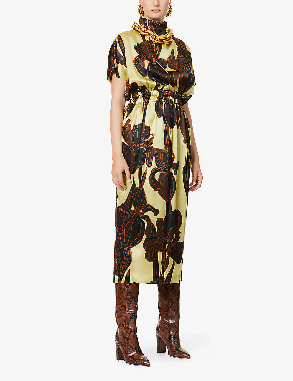 DRIES VAN NOTEN: Floral-print silk midi dress
