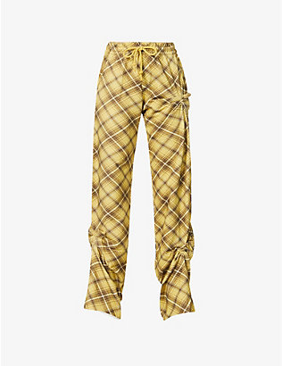 DRIES VAN NOTEN: Check-print high-rise cotton-jersey jogging bottoms
