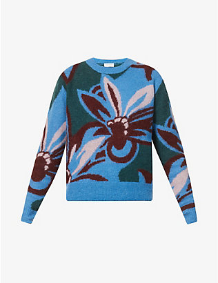 DRIES VAN NOTEN: Graphic-print alpaca-blend jumper