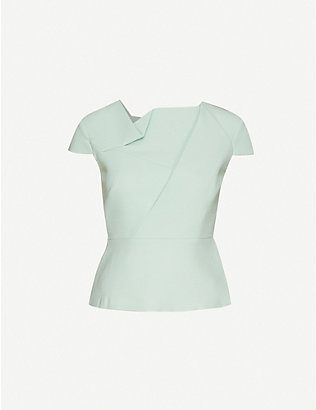 ROLAND MOURET: Alanya asymmetric wool-crepe top