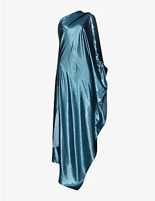 ROLAND MOURET: Ritts metallic asymmetric-neck silk-blend gown