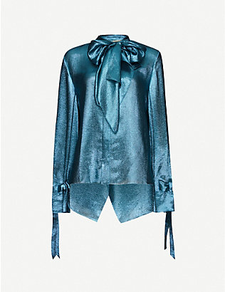 ROLAND MOURET: Royce metallic pussybow-collar silk-blend shirt