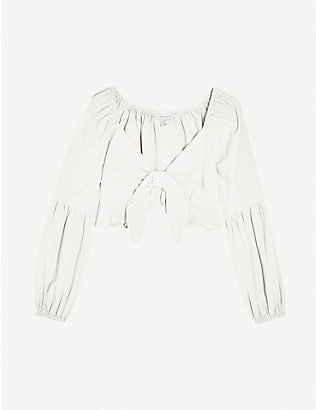 TOPSHOP: Front frill cotton cropped blouse